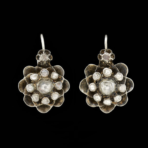Victorian Sterling Closed Back Rose Cut Diamond Cluster Earrings