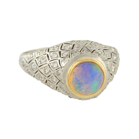 Art Deco Platinum Opal + Diamond Domed Ring