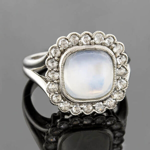 Edwardian Platinum Moonstone Rose Cut Diamond Cluster Ring