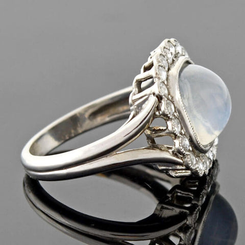 Edwardian Platinum Moonstone Rose Cut Diamond Ring