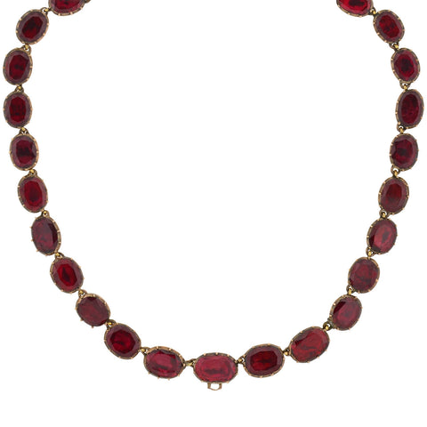 Georgian 14kt Foil-Back Garnet Link Necklace 14""