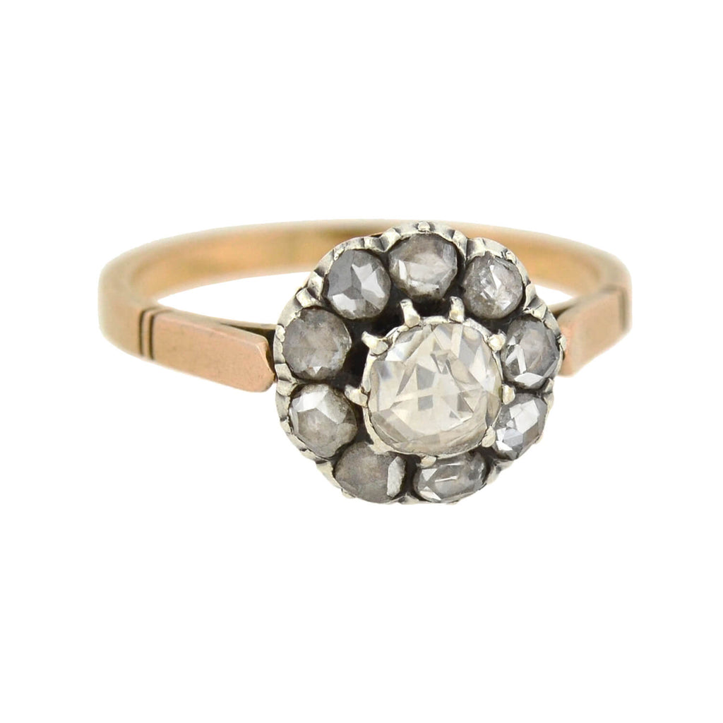 Victorian 18kt/Sterling Rose Cut Diamond Cluster Ring 0.80ctw
