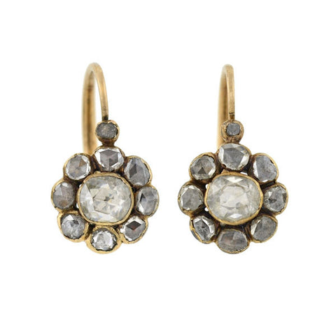 Victorian 15kt Gold & Rose Cut Diamond Buckle Earrings