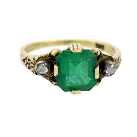 Edwardian 14kt/Sterling 2.00ct Colombian Emerald + Diamond Ring