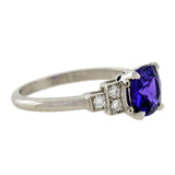 Art Deco Style Platinum Diamond & Natural Color-Changing Sapphire Ring 1.65ct