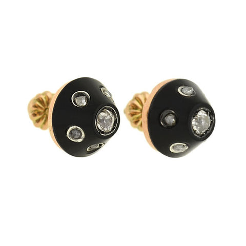 Victorian 14kt Carved Onyx & Diamond Stud Earrings