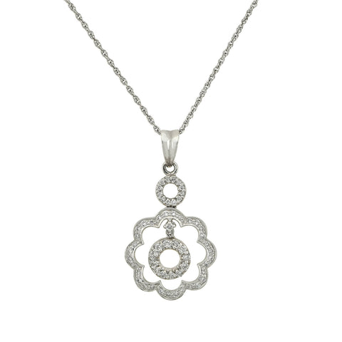 Estate 18kt Diamond Open Flower Pendant Necklace 0.65ctw