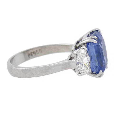 Estate Platinum GIA-Certified No Heat Sapphire + Diamond Ring 5.68ct center