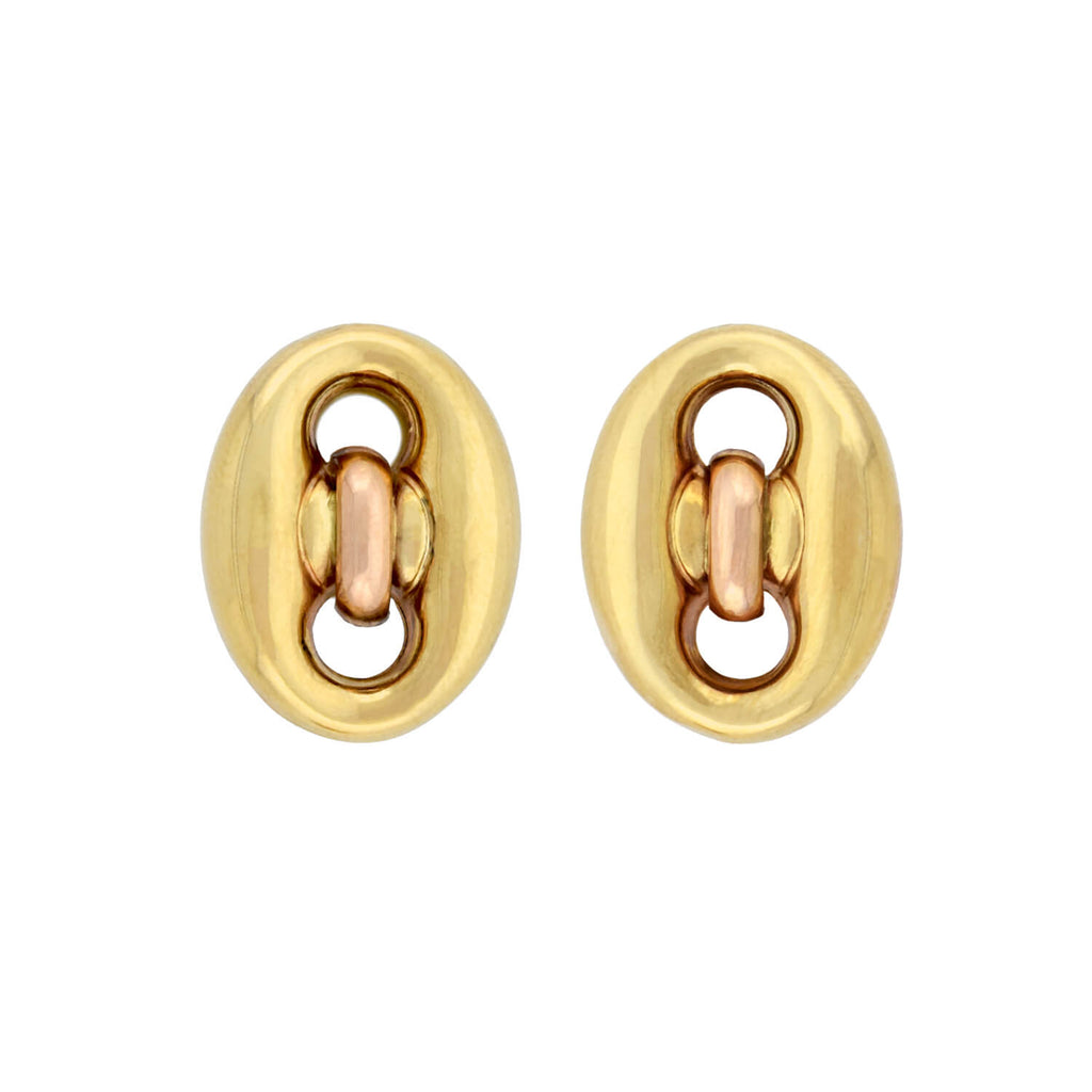 Estate 18kt Two-Tone Anchor Link Omega Post Earrings