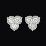 Estate Platinum Diamond Petal Cluster Earrings 1.50ctw