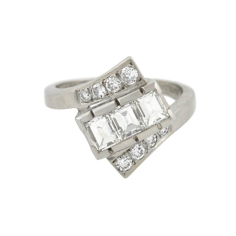 Vintage Platinum Diamond Bypass Ring 1.30ctw