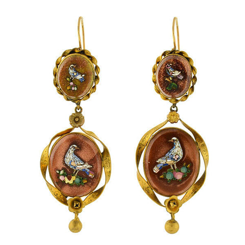 Victorian 14kt Sparkle Copper Jasper & Micro Mosaic Bird Earrings