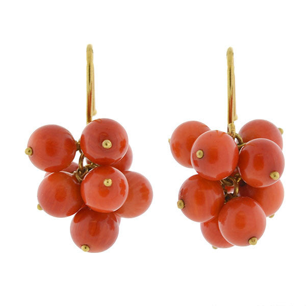 Vintage 18kt Natural Coral Bead Cluster Earrings