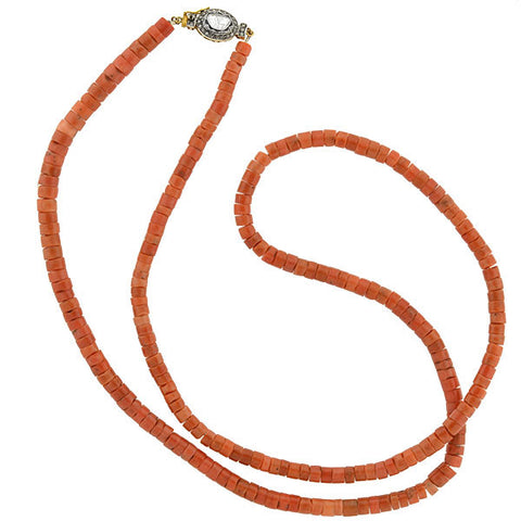 Estate Long Coral Bead & Diamond Clasp Necklace 36""