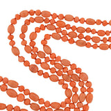 Art Deco Natural Coral Bead Double Strand Necklace