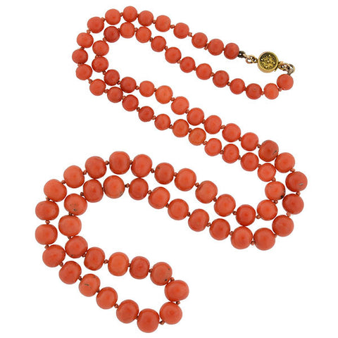 Victorian Natural Coral Bead Necklace with 14kt Clasp