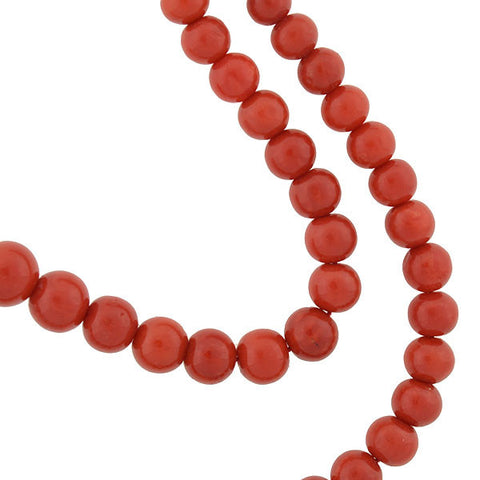 Victorian 14kt Natural Oxblood Coral Bead Necklace