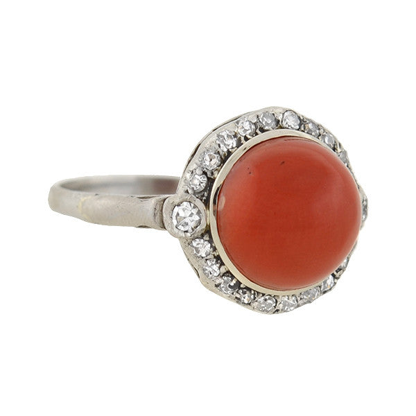 Art Deco 18kt Diamond & Oxblood Coral Ring