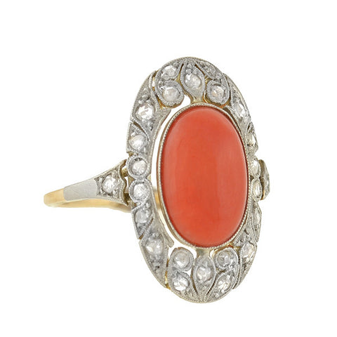 Edwardian 14kt/Platinum Coral & Diamond Filigree Ring