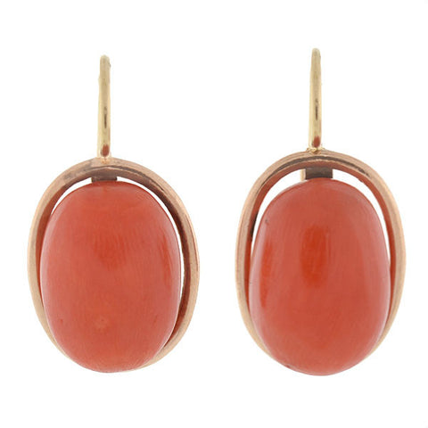 Victorian 14kt Natural Coral Drop Earrings