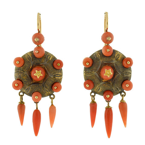 Victorian 14kt Natural Coral Fringe Earrings