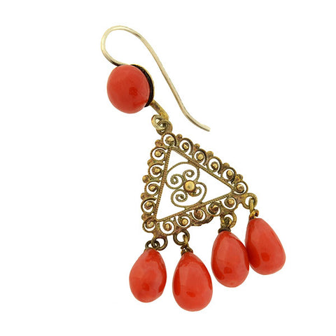 Arts & Crafts Sterling Gilt Natural Oxblood Coral Chandelier Earrings