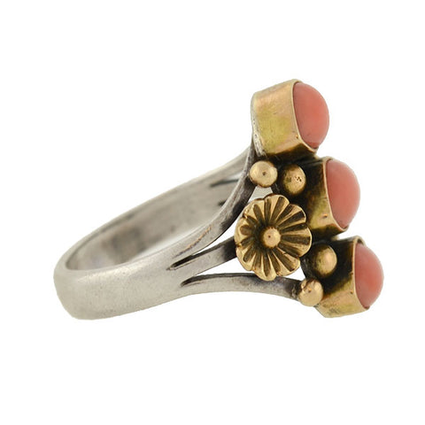 Vintage Mixed Metals Natural Coral 3-Cabochon Floral Ring