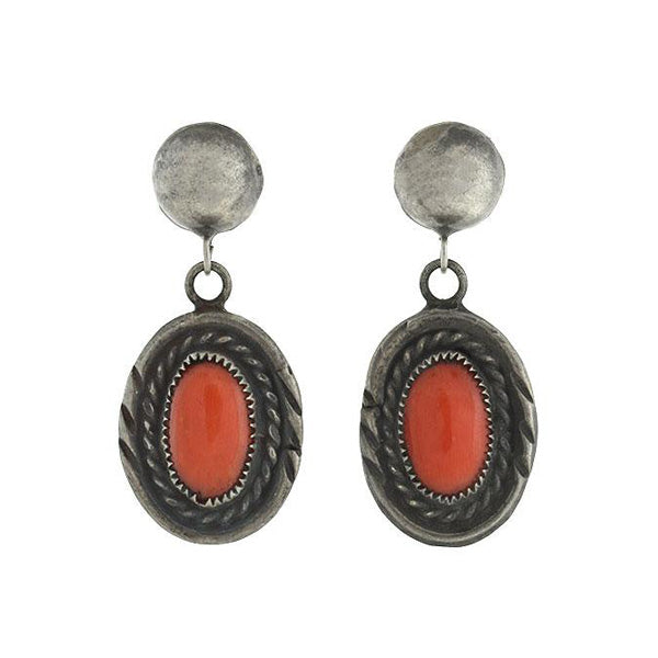 Vintage Sterling Silver Coral Earrings