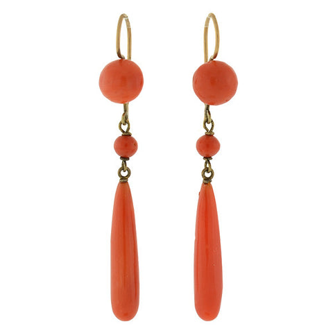 Victorian 14kt Natural Coral Teardrop Earrings