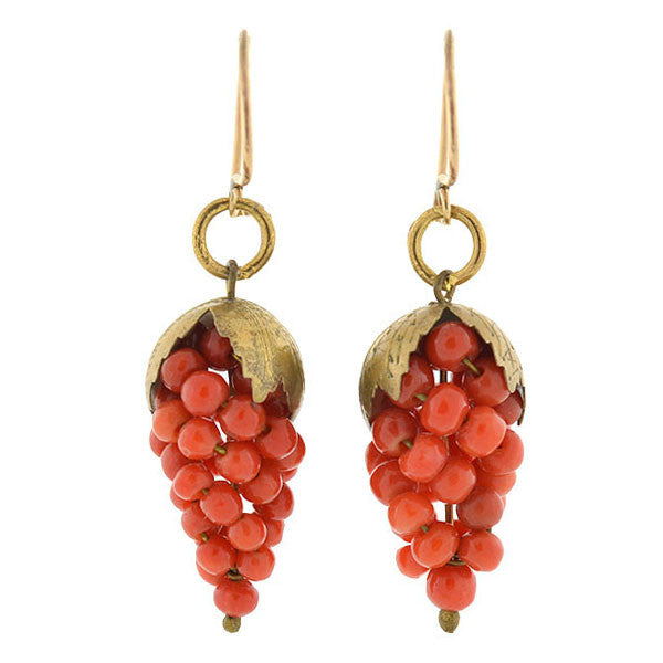 Art Deco 14kt Natural Coral Grape Bunch Earrings