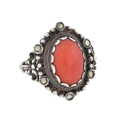 Vintage Continental Silver Marcasite + Coral Cabochon Ring