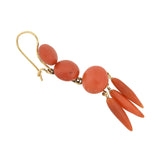 Victorian 14kt Carved Natural Coral Dangling Earrings