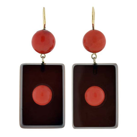 Art Deco 14kt Natural Coral & Black Agate Earrings