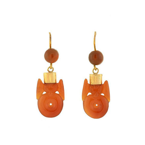 Art Deco Chinese 9kt Hand Carved Carnelian Bat Earrings