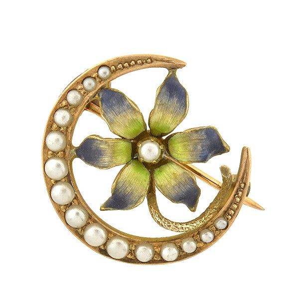 Victorian 14kt Seed Pearl Crescent & Enamel Flower Pin