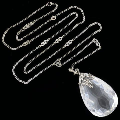 Edwardian Sterling Rock Crystal Briolette Necklace