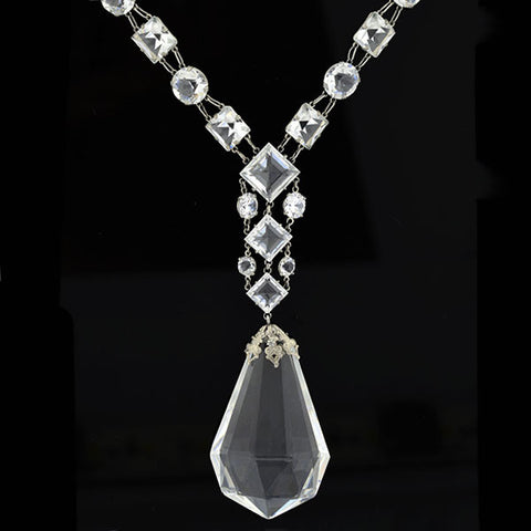 Late Art Deco Sterling Silver Faceted Crystal Necklace 32""