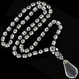 Late Art Deco Sterling Silver Faceted Crystal Necklace 32