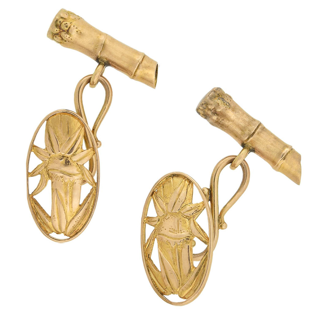 Vintage 18kt Bamboo Motif Double-Sided Cufflinks