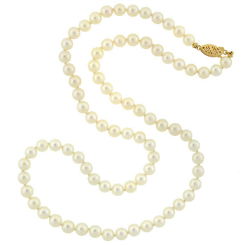 Art Deco Cultured Pearl Necklace with 14kt Clasp