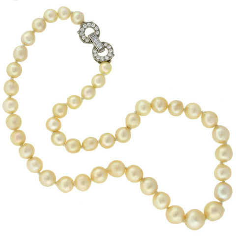 Art Deco Cultured Pearl Necklace & 18kt Diamond Clasp
