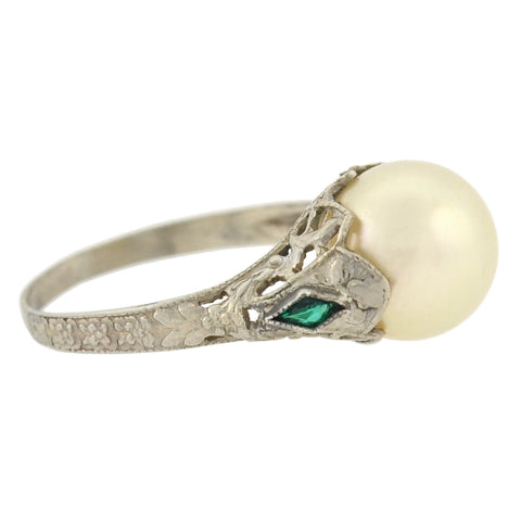 Late Art Deco 14kt Cultured Pearl + Synthetic Emerald Filigree Ring