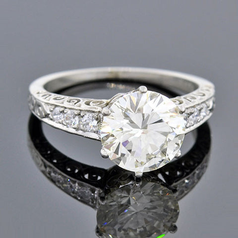 Art Deco Platinum Diamond Engagement Ring 2.45ct