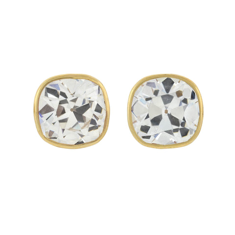 Custom Made Cushion Cut Cubic Zirconia Stud Earrings 7.00ctw