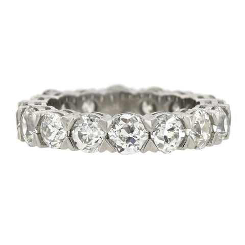Custom Art Deco Style Platinum Old Mine Cut Diamond Eternity Band 4.80ctw