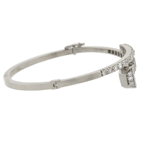 Custom Victorian Style Platinum Diamond Nail Head Bangle Bracelet 2.25ctw