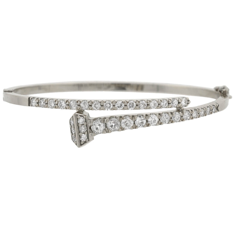 Victorian Sterling French Paste Bangle Bracelet
