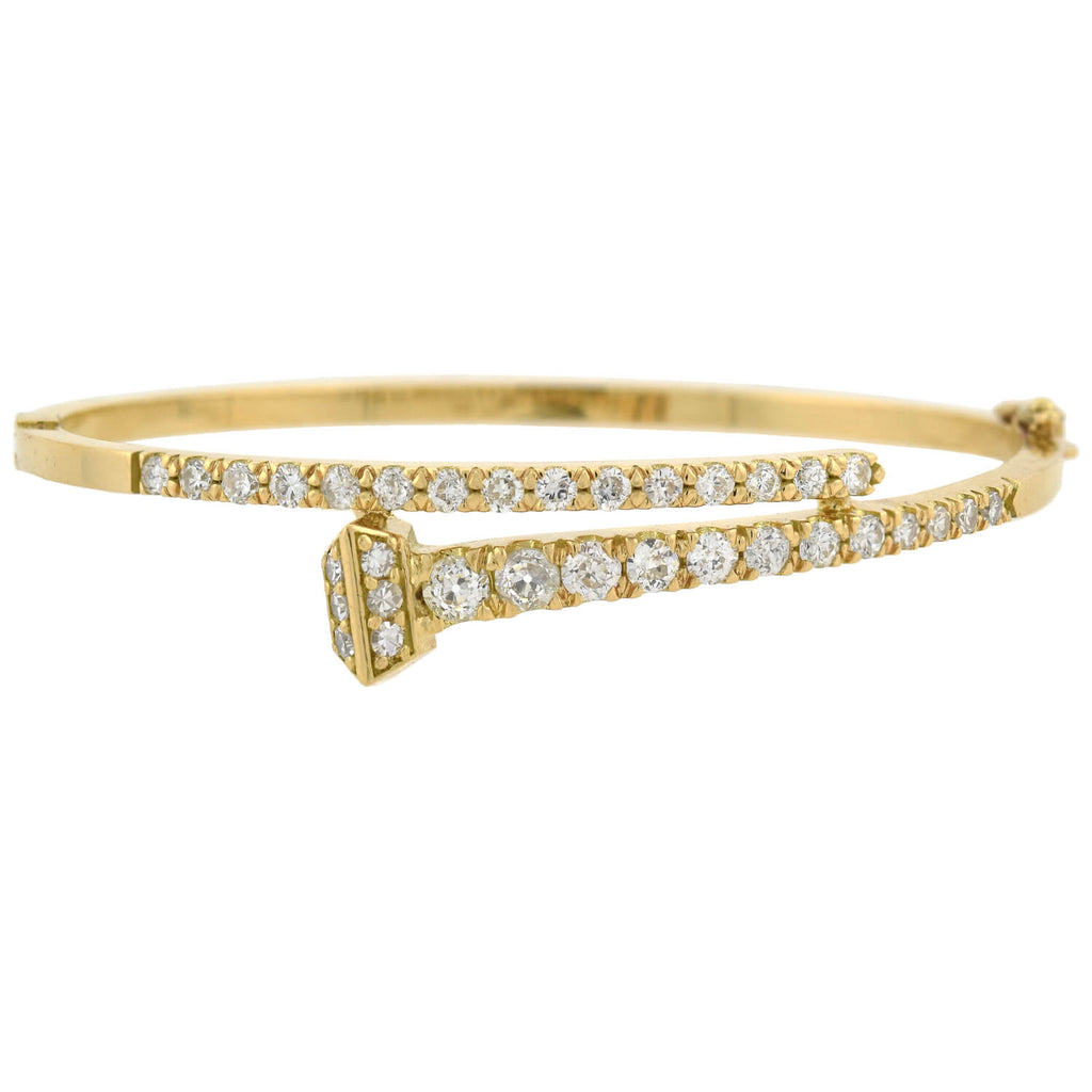 Custom Victorian Style 18kt Diamond Nail Head Bangle Bracelet 2.25ctw