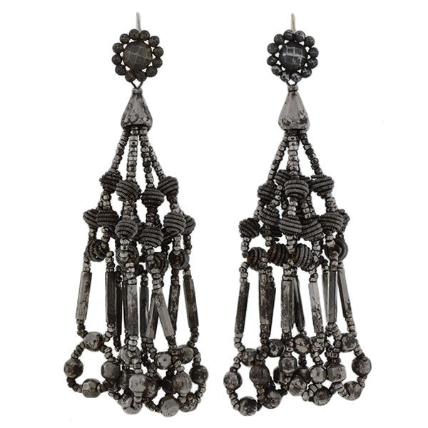 Victorian Unusual Cut Steel Chandelier Earrings