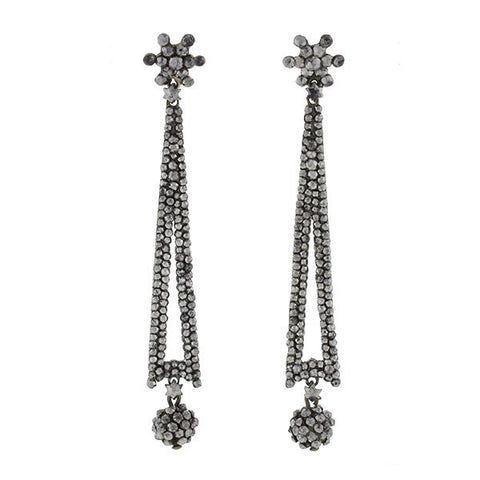 Victorian Cut Steel Long Drop Earrings